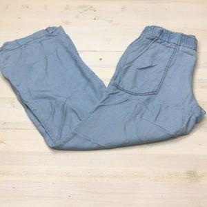 Sanctuary wide leg chambray elastic waist pants